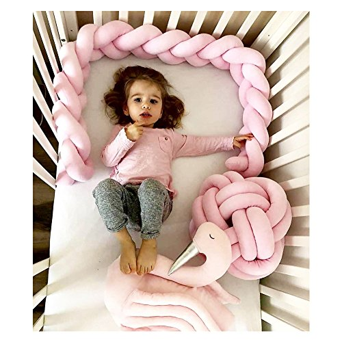 Infant Soft Pad Braided Crib Bumper Knot Pillow Cushion Cradle Decor for Baby Girl and Boy (Rose, 118