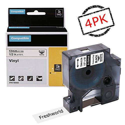 Replace Industrial Dymo Rhino 18444 Permanent Vinyl Labels Tape, Compatible with DYMO Rhino 4200,5000,5200,6000,RhinoPro Label Maker, Industrial LabelWriter, Black on White, 1/2Inch x 18Feet, 4 Rolls