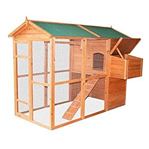 "zwan Large Chicken Coop/Hen 79"" small animal wooden cage Backyard House W/Run With Ebook"