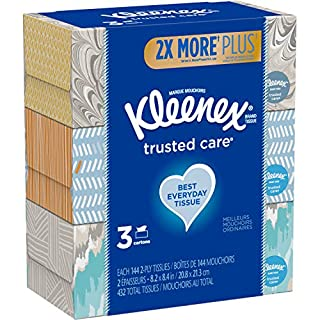 """Kleenex, Trusted Care Tissues, 2 Ply - 8.20"""" x 8.40"""" - White - Soft, Strong, Absorbent, Durable, Pre-Moistened - 55 Sheets Per Box - 3 Boxes Per Pack"""