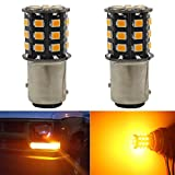 2-Pack 1157 BAY15D 1016 1034 7528 2057 2357 Extremely Bright Amber / Yellow Non-Polarity LED Light 9-30V-DC, 2835 33 SMD Replacement For Interior RV Camper Brake Light Lamps Tail BackUp Parking Bulbs
