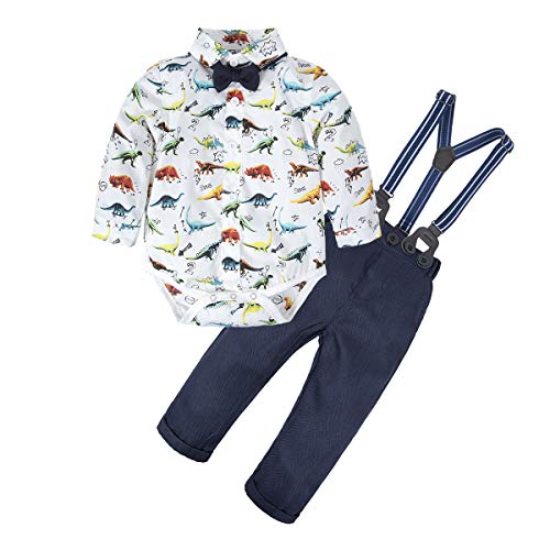 BIG ELEPHANT 2 Pieces Baby Boys Long Sleeve Dresses Shirt Overalls Set (3-6 Months, Dinosaur C)