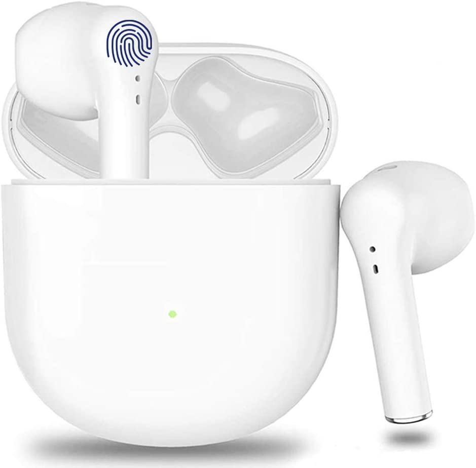 Wireless Earbuds Bluetooth Headphones CVC8.0 Noise Canceling Bluetooth Headphones Built-in Mic HiFi Stereo Headset with Fast Charging Case for iPhone/Android Apple AirPods Pro in-Ear Earbuds (White)