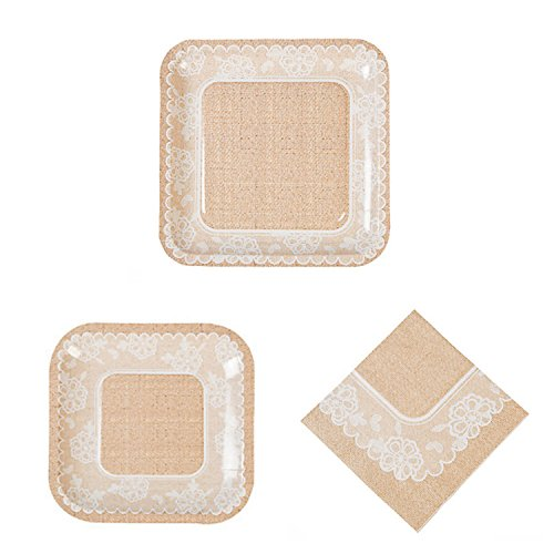 Square Burlap and Lace Wedding Party Pack for 16 People, 48 Piece Set: 16 Square Dinner Plates 16 Square Dessert Plates, and 16 Luncheon Napkins