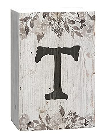Letter T Floral White Distressed 4 x 5 Inch Solid Pine Wood Monogram Barnhouse Block Tabletop Sign - Sign Blocks Decor