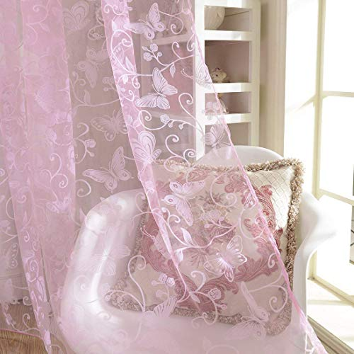 haoun 2Pcs Butterfly Flocking Voile Tulle Sheer Curtain Window Panel Drape 39.4x78.8