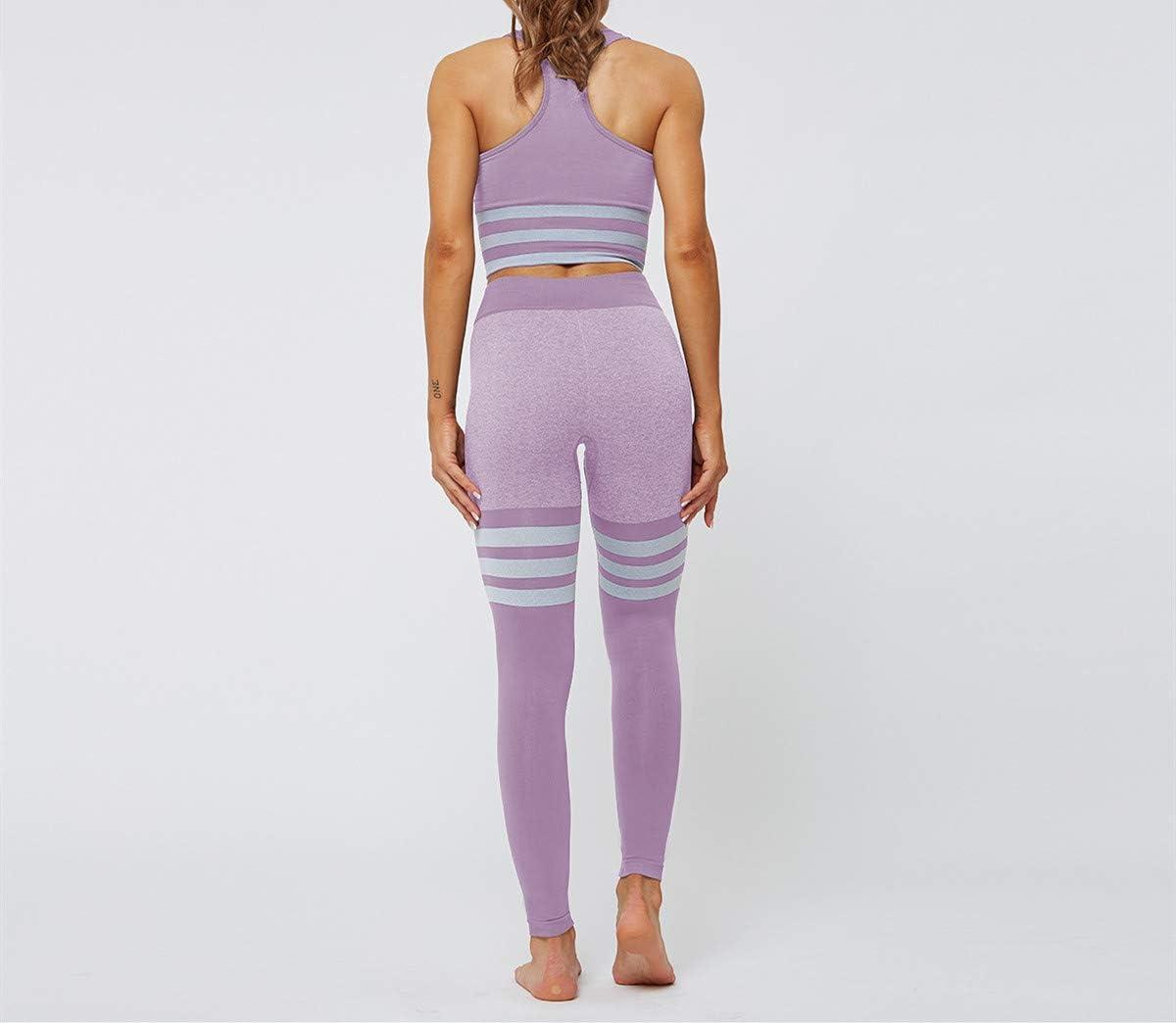 Frauen BH Gestreifte Nahtlose Yoga-Anzug Anzug Gestrickte H/üften Sporthose Tops und Hosen gesetzt DEEWISH Damen Sport Leggings Stretch Fitness Yogahose