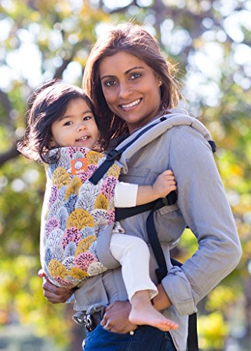 Image of the Baby Tula Multi-Position, Ergonomic Baby Carrier, Front and Back Carry for 15 – 45 pounds – Shenandoah (Gray, Pink, and Mustard Yellow Trees)