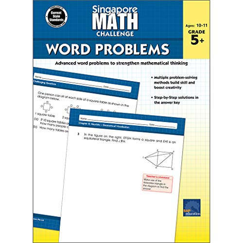 7 11 Math Problem - Singapore Math - Challenge Word Problems Workbook for 5th, 6th, 7th, 8th Grade Math, Paperback, Ages 10-11 with Answer Key
