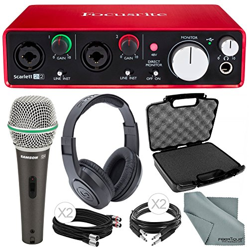 Focusrite Scarlett 2i2 (2nd Gen) USB Audio Interface and Deluxe Accessory Bundle with Protective Case + Samson Dynamic Microphone + Cables + More by Focusrite