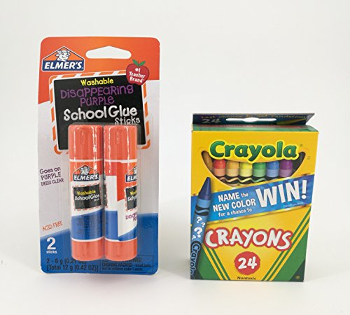 Glue Elmers Stick (Crayola Crayons and Elmer's Glue Sticks Bundle (Two Items))