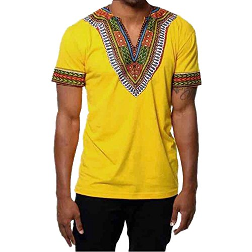 OrchidAmor Fashion Men's Gym Swag Comfy Slim Fit V Neck Printed Muscle Tee T-Shirt Casual Tops Blouse Yellow