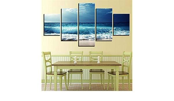 Pintura Impresión de 5 piezas - Materiales no tejidos - Impresión de arte - Imagen - Decoración de pared,Paisaje del atardecer HD paisaje marino 13 núcleo de pintura 30x40cmx2 30x60cmx2 30x80cmx1: Amazon.es: Hogar