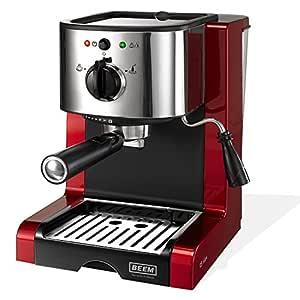 BEEM Germany Espresso Perfect Crema Plus - Cafetera espresso y de bolsitas de café, rojo brillante