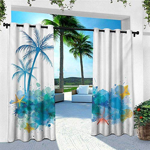 (leinuoyi Seashells, Outdoor Curtain Set of 2 Panels, Summer View Watercolors Coconut Palm Trees and Splashes Hiding Starfishes Print, Fabric W120 x L96 Inch Blue White)
