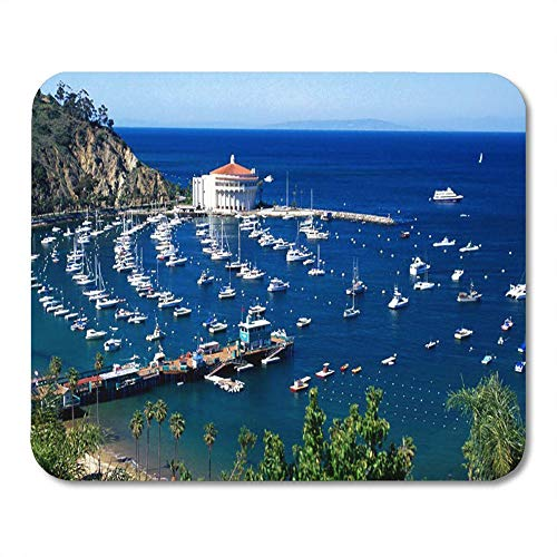 LIminglove Santa Avalon Harbor Catalina Island Pacific Ocean Boats Gaming Mouse Pad,Non-Slip and Dust-Proof Mouse,Funny Creative Mouse pad