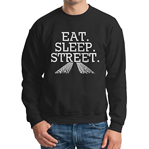 HAASE UNLIMITED Eat Sleep Street - Racing Crewneck Sweatshirt (Medium, (Racing Mens Crewneck Sweatshirt)