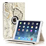 TNP iPad Mini Rotating Case (World Navy Map Beige Ivory) 360 Degree Stand Smart Cover Flip Protective Leather For iPad Mini 3, iPad Mini 2 & 1, Multi Viewing Angles, Auto Sleep & Wake & Stylus Holder