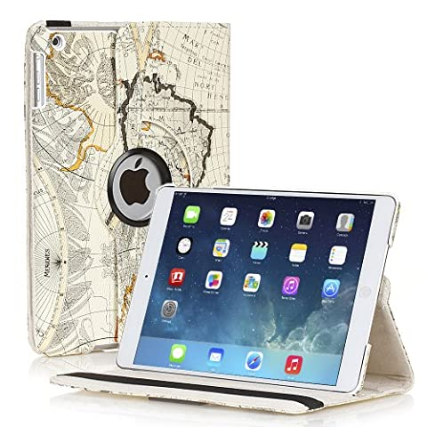 TNP Apple iPad Air Case (iPad 5th Gen, 2013 Model) Tablet - 360 Degree Rotating Stand PU Leather Smart Cover Case with Built-in Magnet for Auto Sleep & Wake Feature & Stylus Holder, Map Design (Speck Like Iphone 5s Case)