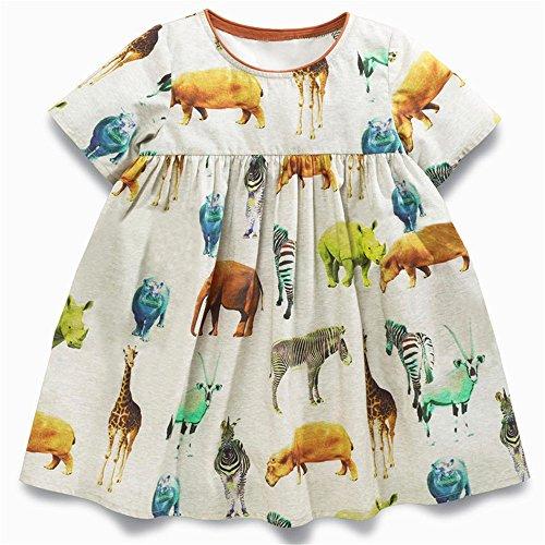 Animal Printed Dress - Girls Cotton Short Sleeve Dress Cute Animal Printed Summer Shirt for Toddler