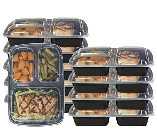 Pakkon 3 Compartment Bento Box / Durable Plastic Lunch Container with Airtight Lid