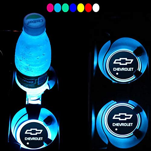 Lntly LED Car Logo Cup Holder Pad Waterproof Bottle Drinks Coaster Built-in Light 7 Colors Changing USB Charging Mat LED Cup Mat Car Atmosphere Lamp 2PCS Compatible Chevrolet Accessory (Chevrolet)