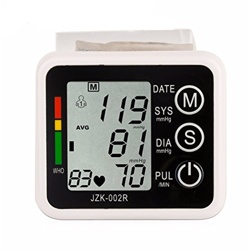 LQUIDE Wrist Blood Pressure Monitor,Large Cuff,Fully Automatic LCD Displayer Sphygmomanometer,Pulse Diastolic Systolic And Hypertension Level,Home Use,Memory (Inflate Large Cuff)
