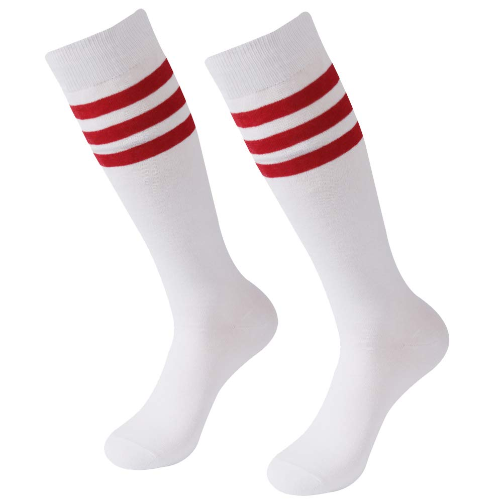 Soccer Socks, SUTTOS White 2 Pairs Unsiex Youth Girls Kids Boys Knee High Soccer Socks Team Sports Cotton Lacrosse Baseball Rugby Football Tube Socks,White Red Back to School Socks 2 Pairs by SUTTOS