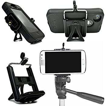 iPhone Tripod Mount Cell Phone Adapter Stand Smartphone Head Holder Attachment Smart Phone iPhone 7 6 6S 8 Plus 5 5S 5C 4 4s X SE Samsung Galaxy S8 S7 S6 Edge S5 S4 S3 S2 - DaVoice (Black)