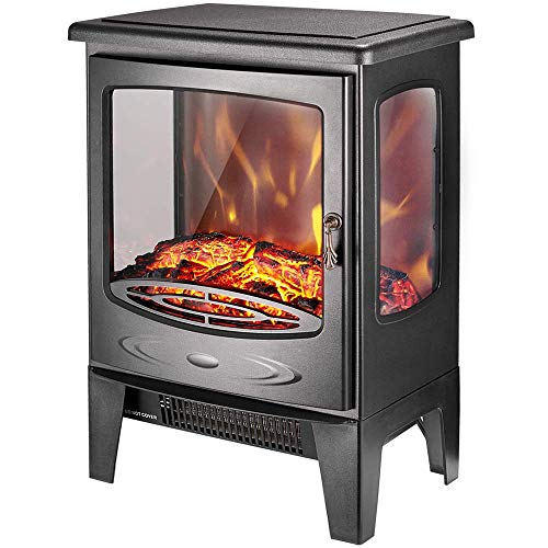 "AMERLIFE Electric Heater 21""- 3-Sided Freestanding Electric Fireplace Heater with 3D Realistic Log Flame Effect, 1500W Black (21 inch Stove)"