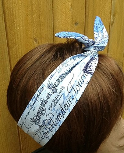 Head Postcard (Wired Headband Dolly Bow Paris Postcard Shades of Blue and Soft White Print Print Wired Dolly bow Rockabilly Wire Scarf Headband Rabbit Ears)