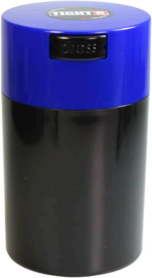 Tightvac - 1 oz to 6 ounce Airtight Multi-Use Vacuum Seal Portable Storage Container for Dry Goods, Food, and Herbs - Dark Blue Cap & Black body