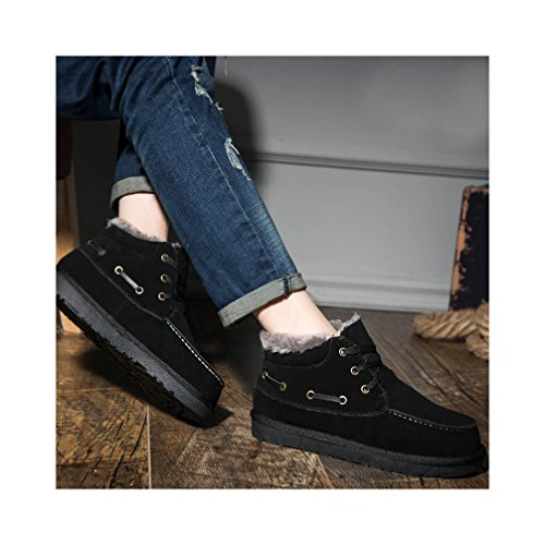 lined Black High fur Boots Snow Ankle Short Shaft faux UPSUN Suede Lined Warm Genuine Fur Shoes Men's qwnOfYR