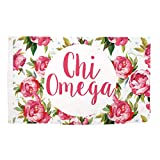Chi Omega Rose Pattern Letter Sorority Flag Greek Letter Use as a Banner 3 x 5 Feet Sign Decor chi o Review