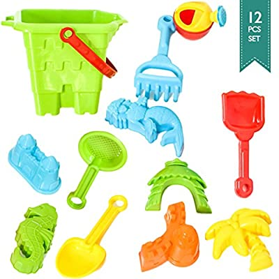 Baby-Beach-Toys: BIG Sand Bucket 12-Pcs Molds & Tools for Water Tables, Beach, Sand Boxes, Bath Tub, Pool or Kinetic Sand Toys For Toddlers