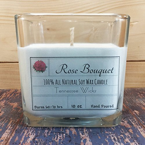 Rose Bouquet 10Oz Hand Poured 100% Natural and Eco Friendly Soy Wax Candle ()