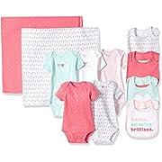 Carter's Girls' 11-Piece Bodysuit, Bib and Blanket Set, Pink Geo, 3 Months