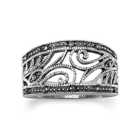 Sterling Silver and Marcasite Swirl Design Ring Band Width Graduates Down From 11mm - Size 9 (Marcasite Rings Size 11)