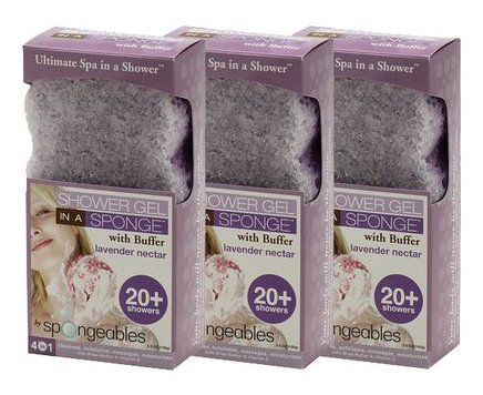 Spongeables Shower Gel in a Sponge (Lavender Nectar) 20+ ...