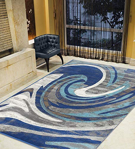 Kashan Navy Area Rug - Silver/Gray/Navy/Turquoise-Faded, Contemporary Distressed Area Rug Wavy/Stormy Pattern Area Rug Abstract,Kashan Rug