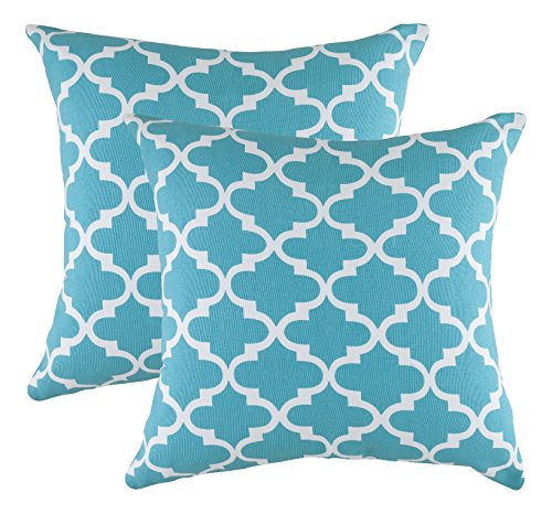TreeWool, (Pack of 2) Trellis Accent Throw Pillow Covers in Cotton Canvas (16 x 16 Inches; Turquoise & (16