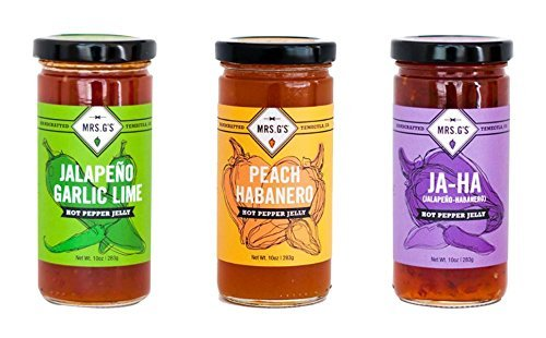 Mrs. G's Hot Pepper Jelly 3-Pack: Jalapeno Garlic Lime, Peach Habanero and Jalapeno Habanero Jelly. Locally sourced and packaged in Southern California.