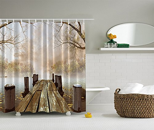 Mats Complete Set Khaki (Ocean Decor Fall Wooden Bridge Seasons Lake House Nature Country Rustic Home Art Paintings Pictures for Bathroom Seascape Decorations, Brown Beige Khaki Yellow)