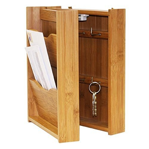 Wall Mount Letter Rack & Key Holder. Mail Organizer Bamboo Wood Storage Box Home
