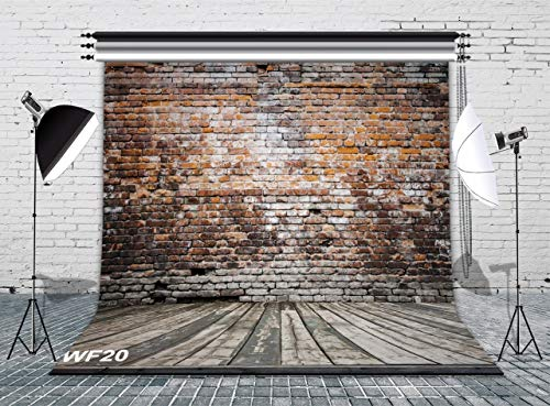 LB Vintage Brick Wall Photo Backdrop 8x8ft Vinyl Rustic Wood Floor Backdrop for Photoshoot Wedding Birthday Party YouTube Video Portraits Photo Booth Background
