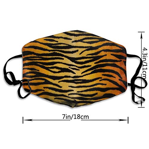 NOT Animal Print Tiger Black Gold PM2.5 Mask, Adjustable Warm Face Mask Unique Cover Filters Blocking Pollen Pollution Germs,Can Be Washed Reusable Pollen Masks Cotton Mouth Mask for Men Women