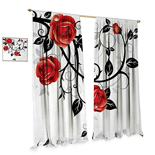 Block China Garden Rose (Anniutwo Gothic Patterned Drape for Glass Door Ornate Swirling Branches with Roses Garden Flower Grunge Style European Waterproof Window Curtain W120 x L84 Vermilion Black White)