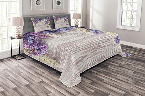(Ambesonne Rustic Bedspread Set Queen Size, Lilac Flowers Bouquet on Wood Table Spring Nature Romance Love Theme, 3 Piece Decorative Quilted Coverlet with 2 Pillow Shams, Lilac Violet Dark)