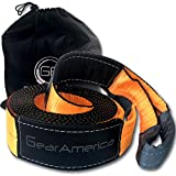 GearAmerica Recovery Tow Strap 4'' x 30' | Heavy Duty Lab Tested 41,455 lbs (20.7 Tons) Strength | Triple Reinforced Loops + Light Reflecting Sleeves | Emergency Truck Towing | Free Storage Bag + Strap