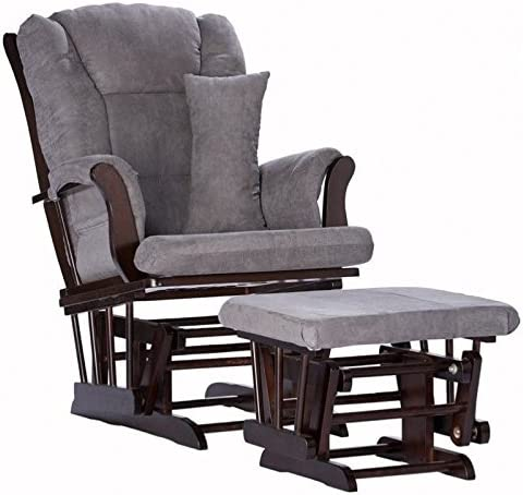 Pemberly Row Custom Baby Nursery Glider and Ottoman Set in Espresso and Grey with Lumbar Pillow